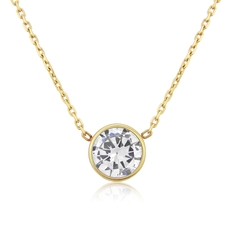 9ct Gold Rubover Set Cubic Zirconia Solitaire Pendant Necklace