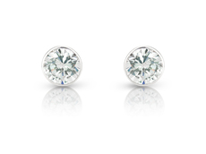 9ct White Gold Rubover Set Cubic Zirconia Stud Earrings