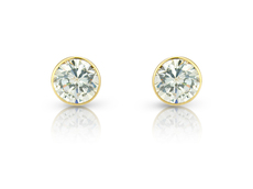 9ct Gold Rubover Set Cubic Zirconia Stud Earrings