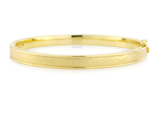 9ct Gold Oval Hinged Textured & Polished Bangle