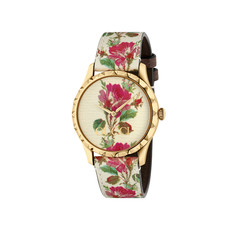 Gucci G-Timeless Le Marché des Merveilles Garden Floral Blooms PVD Gold Plated Womens Quartz Watch YA1264084