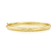 9ct Gold Hand-Engraved Oval Hinged Bangle
