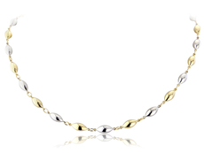 9ct Yellow & White Gold Polished Ovoid Bead Necklace