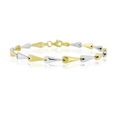 9ct Yellow & White Gold Polished Contemporary Hayseed Bracelet
