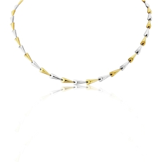 9ct Yellow & White Gold Polished Contemporary Hayseed Necklace