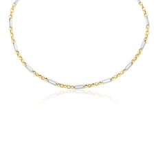 9ct Yellow & White Gold Fancy Link Necklace