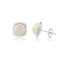 9ct White Gold Pearl Set Stud Earrings