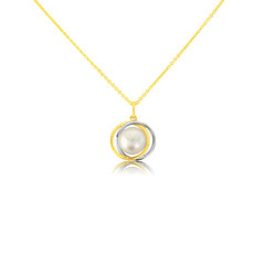 9ct Yellow & White Gold Pearl Swirl Pendant Necklace