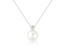 "9ct White Gold Pearl & Diamond Set ""Snowman"" Pendant Necklace"