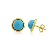 9ct Yellow Gold Turquoise Set Stud Earrings