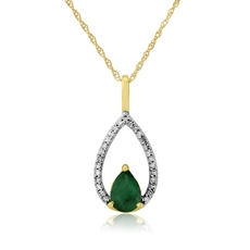 9ct Gold Emerald & Diamond Set Pendant Necklace