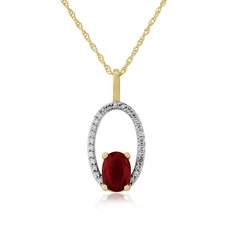 9ct Gold Ruby & Diamond Set Pendant Necklace