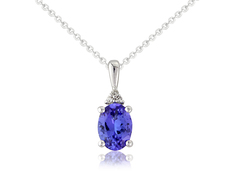 9ct White Gold Tanzanite & Diamond Set Pendant Necklace