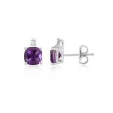 9ct White Gold Amethyst & Diamond Set Stud Earrings