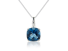 9ct White Gold Blue Topaz & Diamond Set Pendant Necklace
