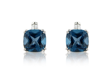 9ct White Gold Blue Topaz & Diamond Set Stud Earrings