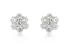 9ct White Gold Cubic Zirconia Set Flower Shape Cluster Stud Earrings