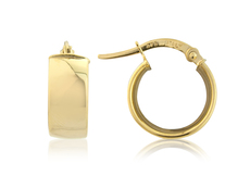 9ct Gold Small Broad Hoop Earrings