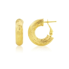 9ct Gold Bark Texture Hoop Earrings