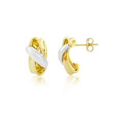 9ct Yellow & White Gold Crossover Stud Earrings