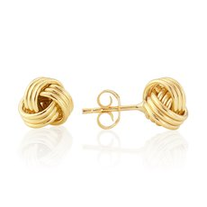 9ct Gold Ribbed Knot Stud Earrings