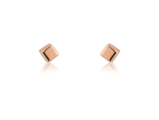 9ct Rose Gold Small Cube Stud Earrings