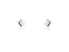 9ct White Gold Small Cube Stud Earrings