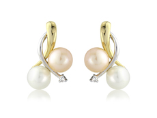 9ct Yellow & White Gold Diamond Multi Colour Pearl Stud Earrings
