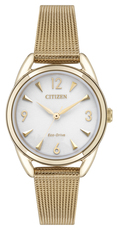 Citizen Eco-Drive LTR Long Term Relationship White Dial Rose Gold Plated Womens Watch EM0683-55A