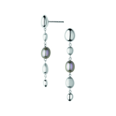 Links of London Sterling Silver & Grey Pearl Hope Drop Earrings 5040.3328