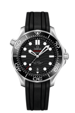 Omega Seamaster Diver 300M Omega Co-Axial Master Chronometer Black Dial Stainless Steel Mens Watch 21032422001001