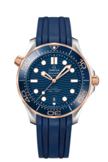 Omega Seamaster Diver 300M Omega Co-Axial Master Chronometer Blue Dial Two Tone Mens Watch 21022422003002