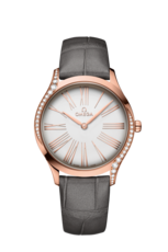 Omega De Ville Trésor Silver Dial Diamond Set 18ct Rose Gold Womens Quartz Watch 42858366002001