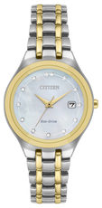 Citizen Eco-Drive Silhouette Diamond Set Mother of Pearl Dial Two Tone Womens Watch EW2488-57D