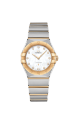 Omega Constellation Manhattan Mother of Pearl Diamond Set Dial Two Tone Womens Quartz Watch 28mm 13120286055002