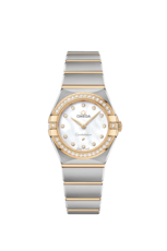 Omega Constellation Manhattan Diamond Set Mother of Pearl Dial Two Tone Womens Quartz Watch 25mm 13125256055002