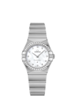 Omega Constellation Manhattan Diamond Set Mother of Pearl Dial Stainless Steel Womens Quartz Watch 25mm 13115256055001
