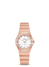 Omega Constellation Manhattan Diamond Set Mother of Pearl Dial 18ct Rose Gold Womens Quartz Watch 25mm 13155256055001