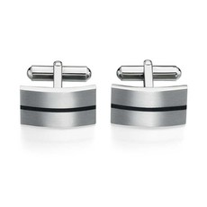 Fred Bennett Brushed Stainless Steel & Black Enamel Stripe T-Bar Cufflinks V424