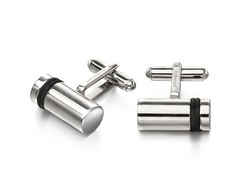 Fred Bennett Stainless Steel & Black Stripe Cylinder Barrel T-Bar Cufflinks V522