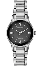 Citizen Eco-Drive Axiom Diamond Set Black Dial Stainless Steel Womens Watch EM0730-57E