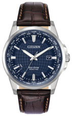 Citizen Eco-Drive World Time Blue Dial Stainless Steel Mens Watch BX1000-06L