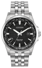 Citizen Eco-Drive World Time Black Dial Stainless Steel Mens Watch BX1000-57E