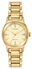 Citizen Eco-Drive Axiom Diamond Set Champagne Dial Gold Plated Womens Watch EM0732-51P