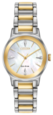 Citizen Eco-Drive Axiom Diamond Set Mother of Pearl Dial Two Tone Womens Watch EM0734-56D