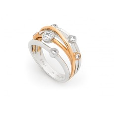 18ct White & Rose Gold Multi-Strand Diamond Set Crossover Ring