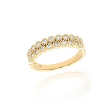 18ct Gold Two Row Diamond Set Millgrain Dress Ring