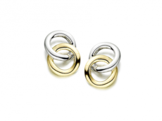 "9ct Yellow & White Gold Interlinked ""Circles of Life"" Stud Earrings"