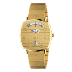 Gucci Grip 35mm PVD Gold Plated Unisex Quartz Watch YA157403