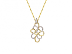 9ct Yellow & White Gold Two Tone Diamond Set Openwork Pendant Necklace